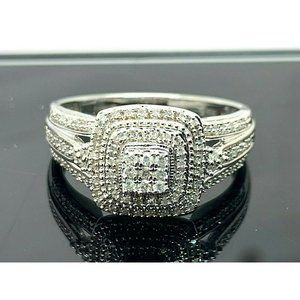 Engagement Ring Sterling Silver 1/3ctw Diamond SZ9